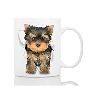Cute Yorkshire Terrier Dog Mug - Ceramic Funny Coffee Mug - Perfect Dog Lover Gift - Cute Novelty Coffee Mug Present - Great Birthday or Christmas Surprise for Friend or Coworker, Men and Women (11oz) 10