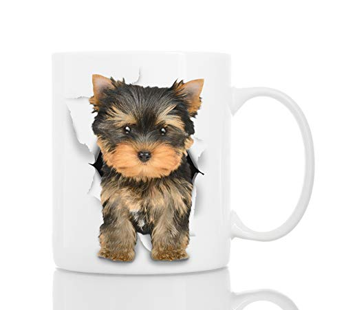 Cute Yorkshire Terrier Dog Mug - Ceramic Funny Coffee Mug - Perfect Dog Lover Gift - Cute Novelty Coffee Mug Present - Great Birthday or Christmas Surprise for Friend or Coworker, Men and Women (11oz)