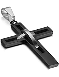 Mens Teens High Polish Stainless Steel Hollow Openwork Cross Pendant Necklace for Easter,Birthday Gifts Jewelry, Chain Included