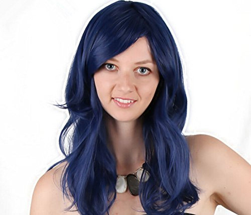 Women's Full Length Wavy Curly Deep Blue Colored Cosplay Anime Costume Wig (Halloween Costumes With Colored Wigs)