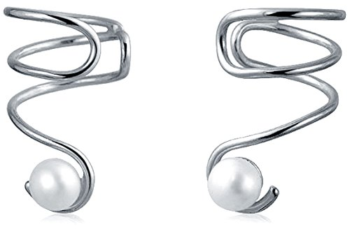 Trendy Spiral Wire White Freshwater Cultured Pearl Cartilage Ear Cuff Wrap Helix Earrings For Women 925 Sterling Silver