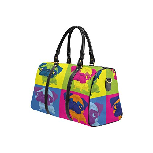 InterestPrint Waterproof Travel Bag Sports Duffel Tote Overnight Bag Pug Dog Andy Warhol Style