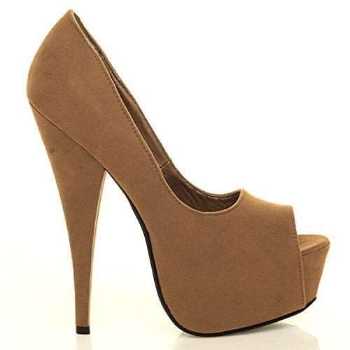 Femmes Sandales Talon Pointure Plateforme Chaussures Ouvert Classique Brun Haut Bout Daim wqwxrS0T