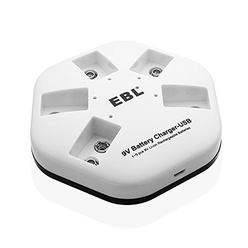EBL 9V Lithium ion Battery Charger 2A USB Input 5 Bay for 9V Li-ion Rechargeable Batteries