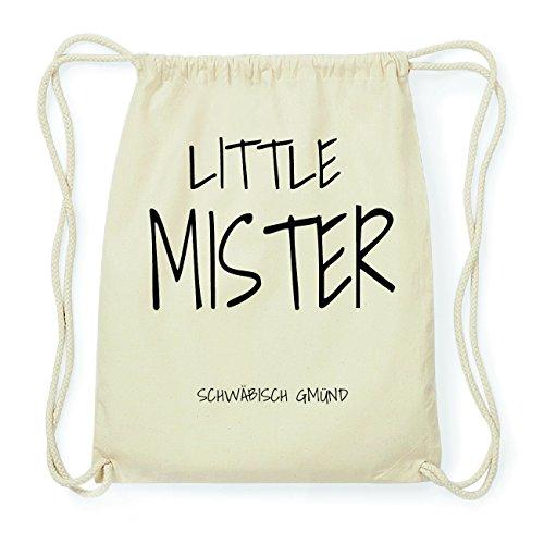 JOllify SCHWÄBISCH GMÜND Hipster Turnbeutel Tasche Rucksack aus Baumwolle - Farbe: natur Design: Little Mister EY8Lvq9L