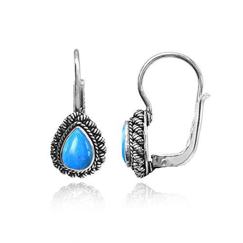 Sterling Silver Simulated Turquoise Teardrop Oxidized Bali Twist Braid Leverback Drop Earrings