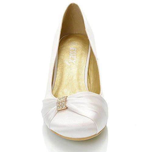 On Bianco Fibbia Matrimonio Satinato Scarpa Slip Donna ESSEX Tacco Festa GLAM Basso Diamante Sera Finto Aw0zO41q