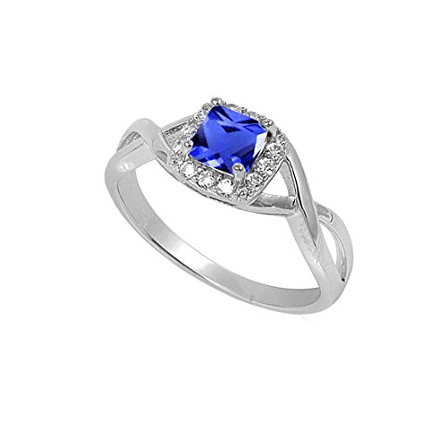 Solitaire Infinity Shank Ring Simulated Blue Sapphire Princess Cut 925 Sterling Silver,Size-5