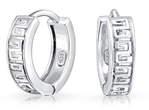 - Greek Key Cutout Huggie Kpop Hoop Earrings for Women For Men 925 Sterling Silver Shiny Hinge Dia .65