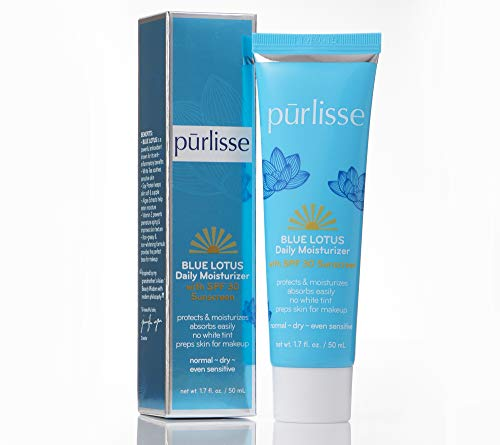 purlisse Blue Lotus Essential Daily Moisturizer - Moisturizing Face Lotion with SPF 30 - Broad Spectrum Sunscreen Face Cream for Dry, Normal and Sensitive Skin, 1.7 Ounce