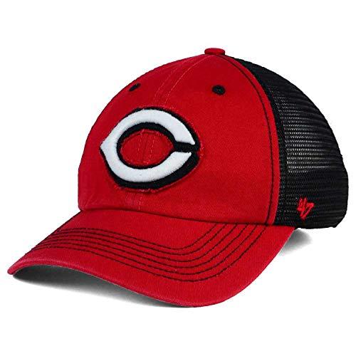 '47 Cincinnati Reds Taylor Closer Mesh Slouch Stretch Flex Fit Dad Cap Hat (Red-Black, Large-XL)