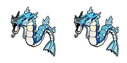 (Pokemon Gyarados Cute 2-Pack Anime Cosplay Application Gift Embroidered Iron-On or Sewn Badge DIY Appliques Patch by Outlander)
