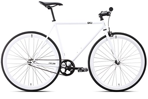 6KU Evian 1 Fixed Gear Bicycle, Gloss White/White, 58cm