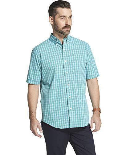 Arrow 1851 Men's Hamilton Poplins Short Sleeve Button Down Plaid Shirt, Green/Blue Slate, XX-Large