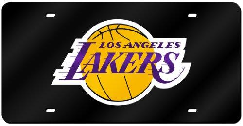 Rico Industries NBA Los Angeles Lakers Laser Inlaid Metal License Plate Tag, Black by Rico Industries
