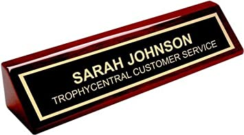 Amazon.com : Engraved Desk Name Plate - Office Name Plate for Desk ...