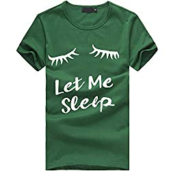 Ykaritianna Women Girls Plus Size Eyelash Print Short Sleeve T Shirt Blouse Tops Green