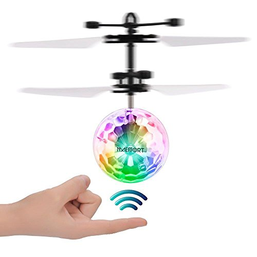 Maeffort Kid and Boy Toys, RC Flying Ball, Infrared Induction Helicopter Ball with Rainbow Shinning LED Lights and Remote Control for Kids, Flying Toy for Boys and Girls