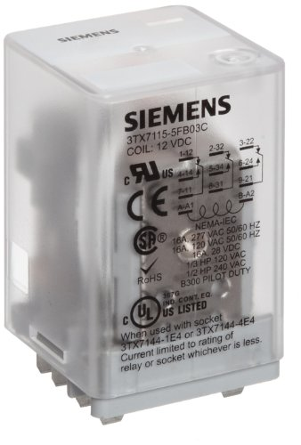 (Siemens 3TX7115-5FB03C Basic Plug In Relay, Square Base, Mechanical Flag, 3PDT Contacts, 16A Contact Rating, 12VDC Coil Voltage)
