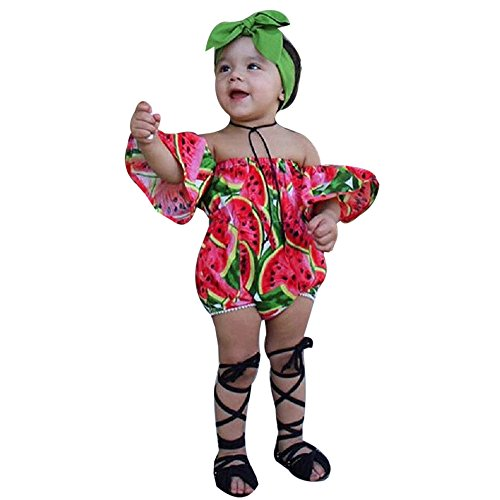 Willsa Infant Baby Girl Off Shoulder Watermelon Printed Romper Jumpsuit + Headband Outfits Set (12-18M, Red) -