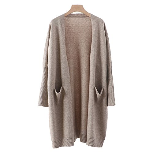 Zerlar Knit Cardigan Boyfriend Sweater Open Front Long Sleeve For Women Ladies (Beige Wool Coat)