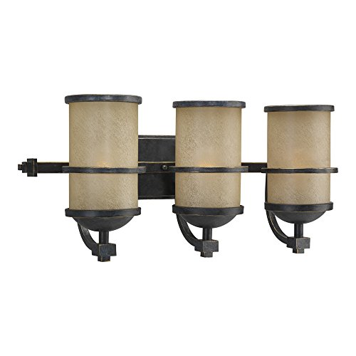 Sea Gull Lighting 44522-845 Three Bath Or Wall Light Fixture Roslyn Creme Parchment Glass Shades, Flemish Bronze Finish - Light Flemish Bronze Chandelier