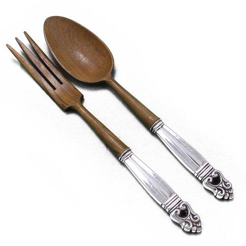Royal Danish by International, Sterling Salad Serving Spoon & Fork, Olive Wood