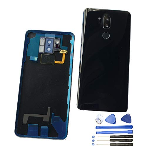 1Eaglewireless Waterproof Rear Panel,Back Glass Cover Assembly Replacement Parts with Fingerprint/Camera Lens Cover for LG G7 ThinQ G7 Plus G710 G710EM-Aurora -