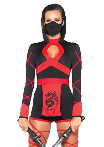 Leg Avenue Women's 3 Piece Dragon Ninja Costume, Black/Red, Medium