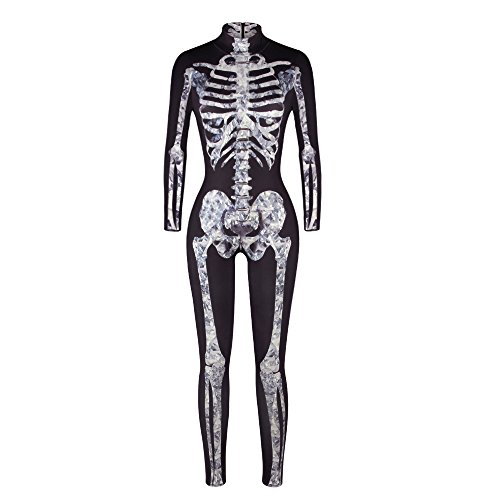 Moon&Miss Womens Skeleton Print Bodycon Fullbody Catsuit Jumpsuits