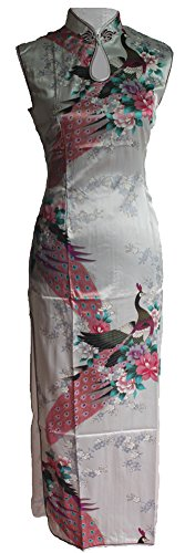 7Fairy Women's Silk White Keyhole Peacock Long Chinese Dress Qipao Size 4 US by 7Fairy