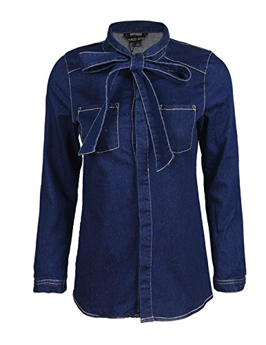 HaoDuoYi Womens Bow Tie Neck Button Down Denim Long Sleeve Shirt