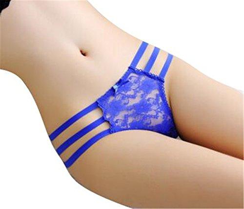 YALL-Sra mujeres de las muchachas ropa interior femenina de talle bajo la ropa interior de la correa del cordón Blue