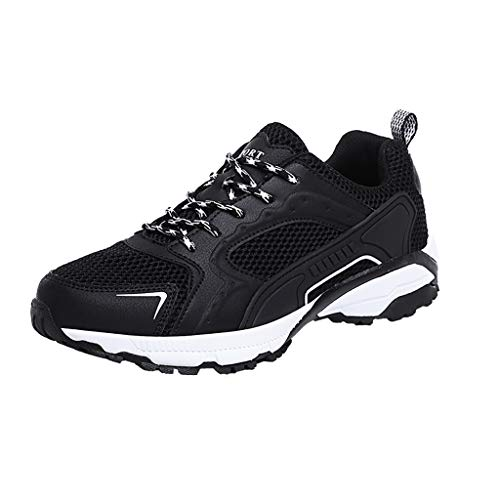 Bralonees Men's Breathable Mesh Outdoor Walking Shoes Nonslip Sneakers Running Sports Road Anti-Slip Trainers Fitness Black