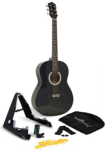 Martin Smith 6 String Acoustic Guitar SuperKit with Stand, Tuner, Gig Bag, Strap, Picks and Strings-Natural, Black