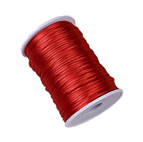 HLLbuy 2.5mm Dia 109Yd Red Satin Cord DIY Rattail Satin Nylon Trim Cord Chinese Knot