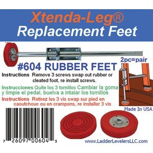 CE Tooling Ladder Levelers 604 Replacement Rubber Feet Only Pair for 600C (Hardware Not Included) - 8ct. Case