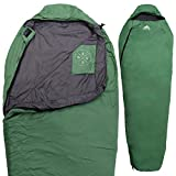 Tough Outdoors All Season Hooded XL Sleeping Bag with Compression Sack - Perfect Compression Sleeping Bag for Backpacking & Camping (Summer Solstice: 60F+ Temperature Rating)