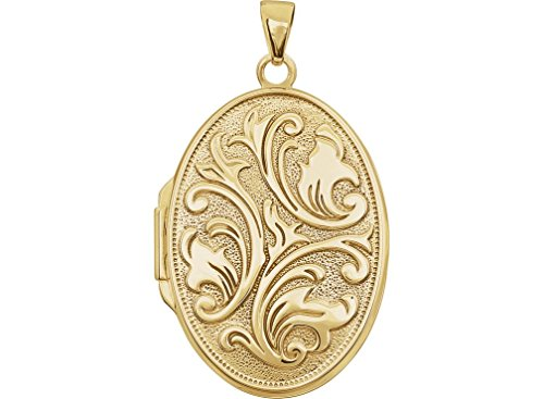 14k Yellow Gold Scrolled Floral Oval Locket by The Men's Jewelry Store (for HER)