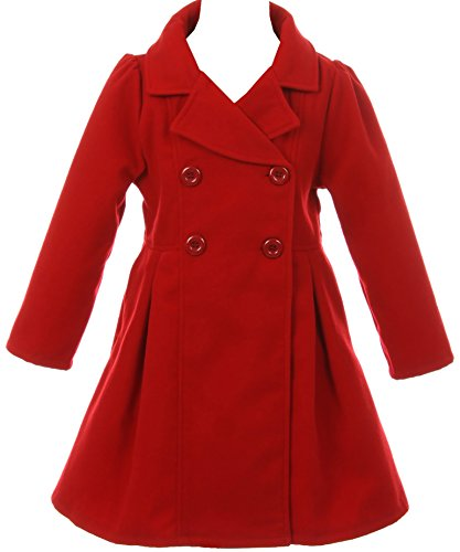 Dress Up Winter Girls (Girl Winter Dress Coat Long Sleeve Buttons and Pockets for Big Girl Red 12 J2049)