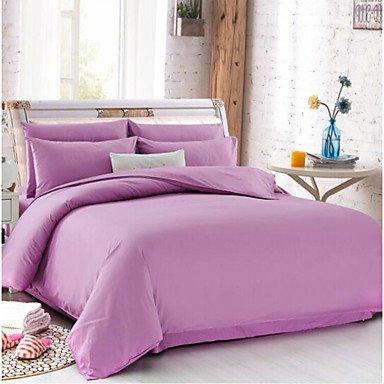 DB&PEISHI Solid 4 Piece Cotton Cotton 4pcs (1 Duvet Cover, 1 Flat Sheet, 2 Shams) , purple , full