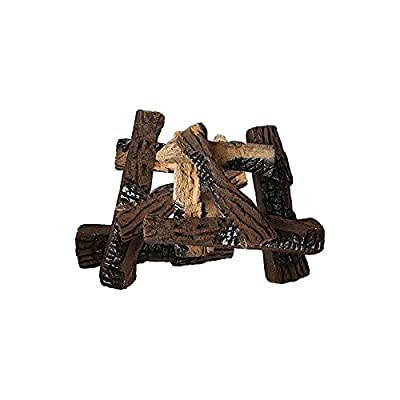 Gibson Living Set of 10 Ceramic Wood Gas Logs for Fireplaces and Fire Pits
