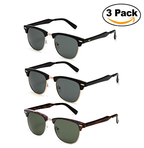 Newbee Fashion -Classic Vintage Clubmaster Style Comfortable Semi-Rimless Flash Mirrored Lenses Colored Fashion - Ray Bans Colored
