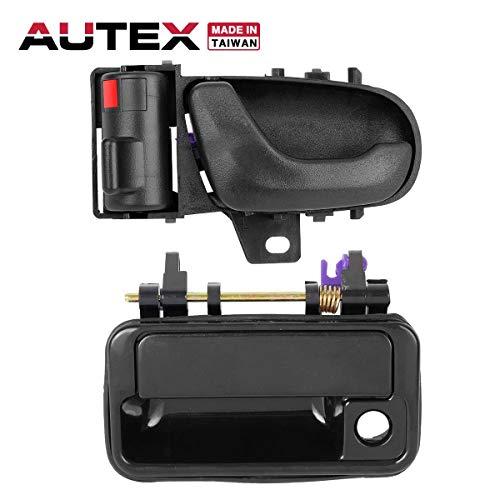 (AUTEX 2pcs Black Exterior Interior Door Handle Set Front Left Driver Side Compatible with GEO Metro,Suzuki Swift 1992 1993 1994 Door Handles 80475 8313065E005ES 8282060B025PK)