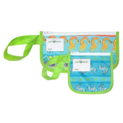 green sprouts Reusable Snack Bags (2 Pack) | Holds Food, Utensils, Wipes, More | Food-Safe, Waterproof, Easy-Clean Material, Green Safari