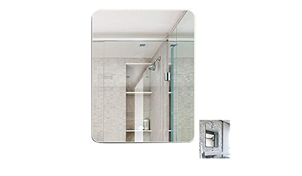 Meng Wei Shop Espejos Cuarto De Baño Sin Marco Espejo Espejo De Plata HD Montado En La Pared Vestir Espejo Espejo De Baño Espejos De Baño (Color : Silver, Size : 50x70cm):