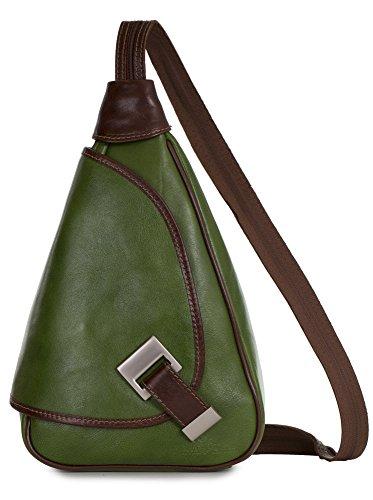 'Mila' de LiaTalia - 2en1 - Pequeño bolso de hombro para mujer ligero y convertible en mochila en auténtica piel italiana Verde - Con Borde Marrón