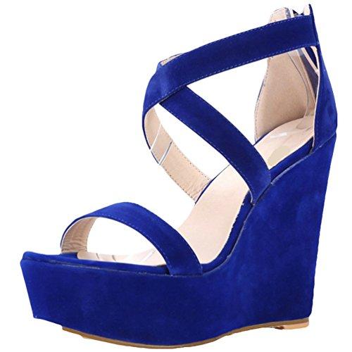 Femme Femme Corde Mode Sandale WanYang Chaussure Plateforme Des Sandales Talon Plateforme Compensé Bleu Été SBYqwXdx