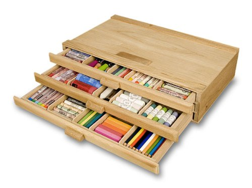 Creative Mark 3 Drawer Pastel Box Sturdy Stackable Wood Storage Box For Pastels, Art Tools, Paint Brushes & Make Up Brushes (Pastel Box The)