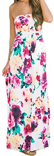 ARRIVE GUIDE Womens Print Floral Strapless Slim Summer Maxi Dress White XXS